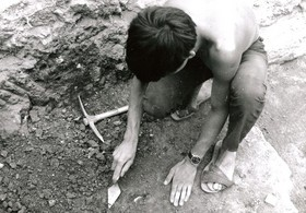 Archaeologist at work in 1969