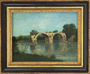 Painting of The Ambroix Bridge by G. Courbet - F. Jaumes